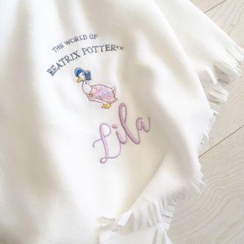 Personalised Jemima Puddleduck  fleece baby cot  blanket