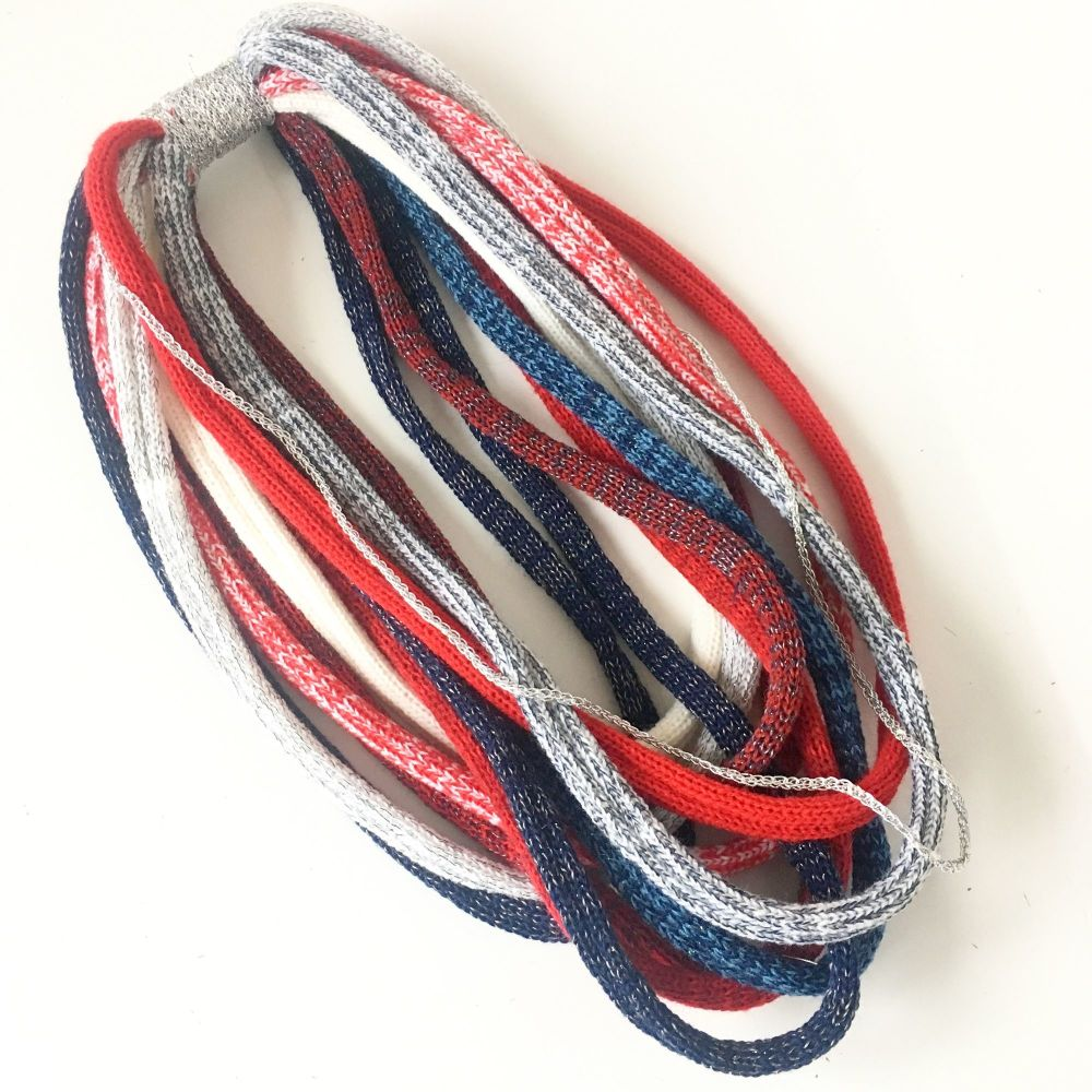 Red white & blue tone infinity scarf necklace