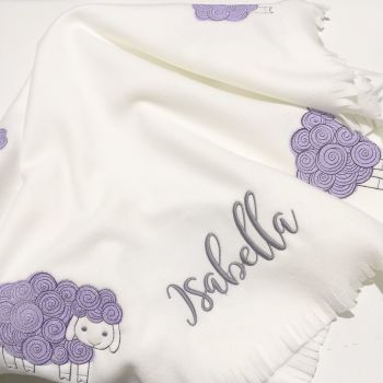 Personalised sheep  fleece baby cot blanket