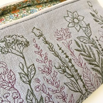 Liberty print fully lined  floral embroidered clutch bag