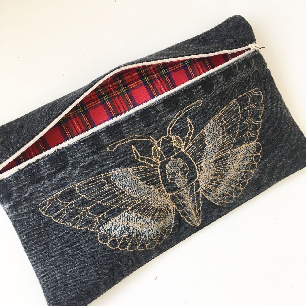 Steampunk Deaths head moth embroidered clutch bag