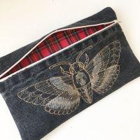 Steampunk Deaths head moth embroidered clutch bag
