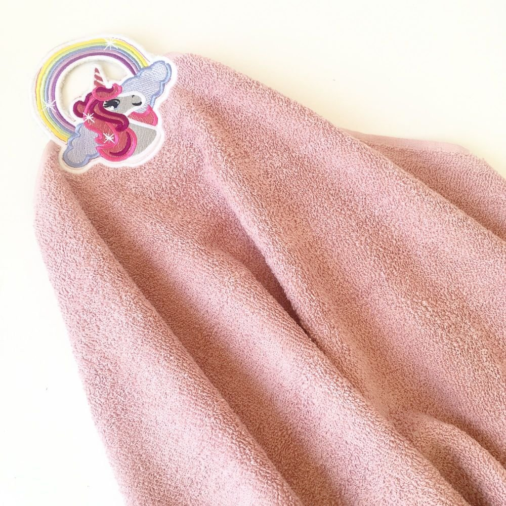 Unicorn hand towel topper Can be personalised