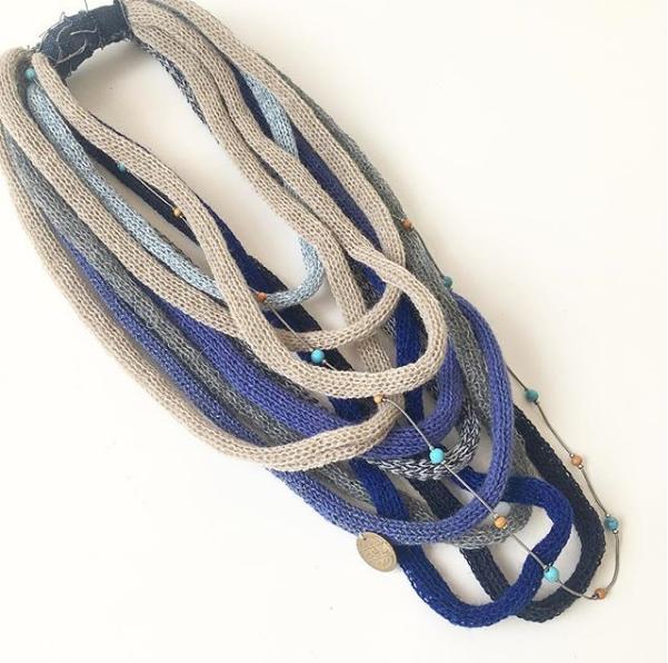 Blue denim tone infinity scarf necklace