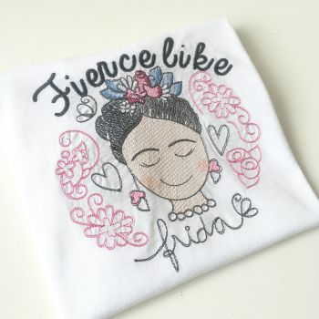 Fierce like Frida embroidered children's T shirt
