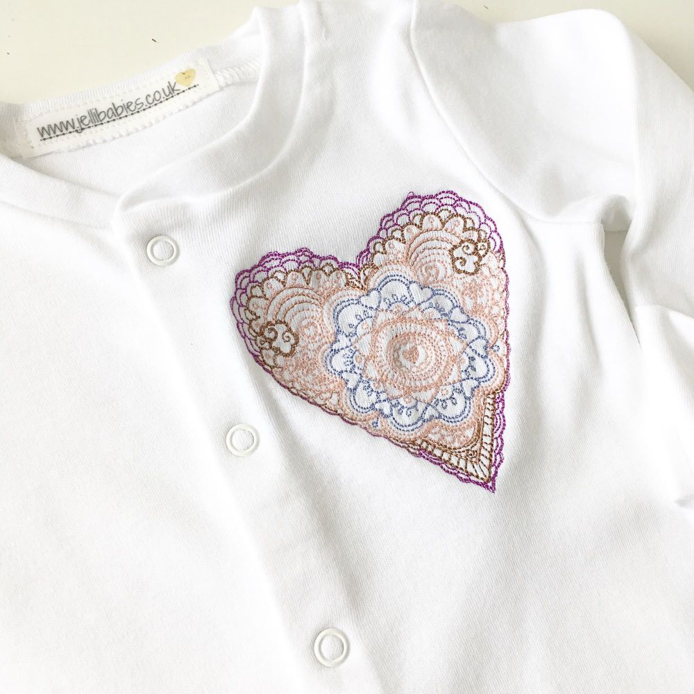 Embroidered heart babygrow