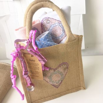 Embroidered heart new baby gift set