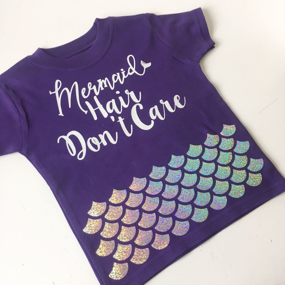 Mermaid hair don't care holographic children's T shirt