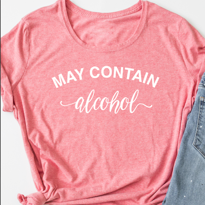 May contain alcohol adults parenting T shirt by Jellibabies