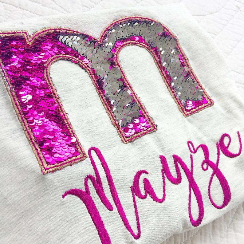 Reversable mermaid sequin personalised children's T shirt