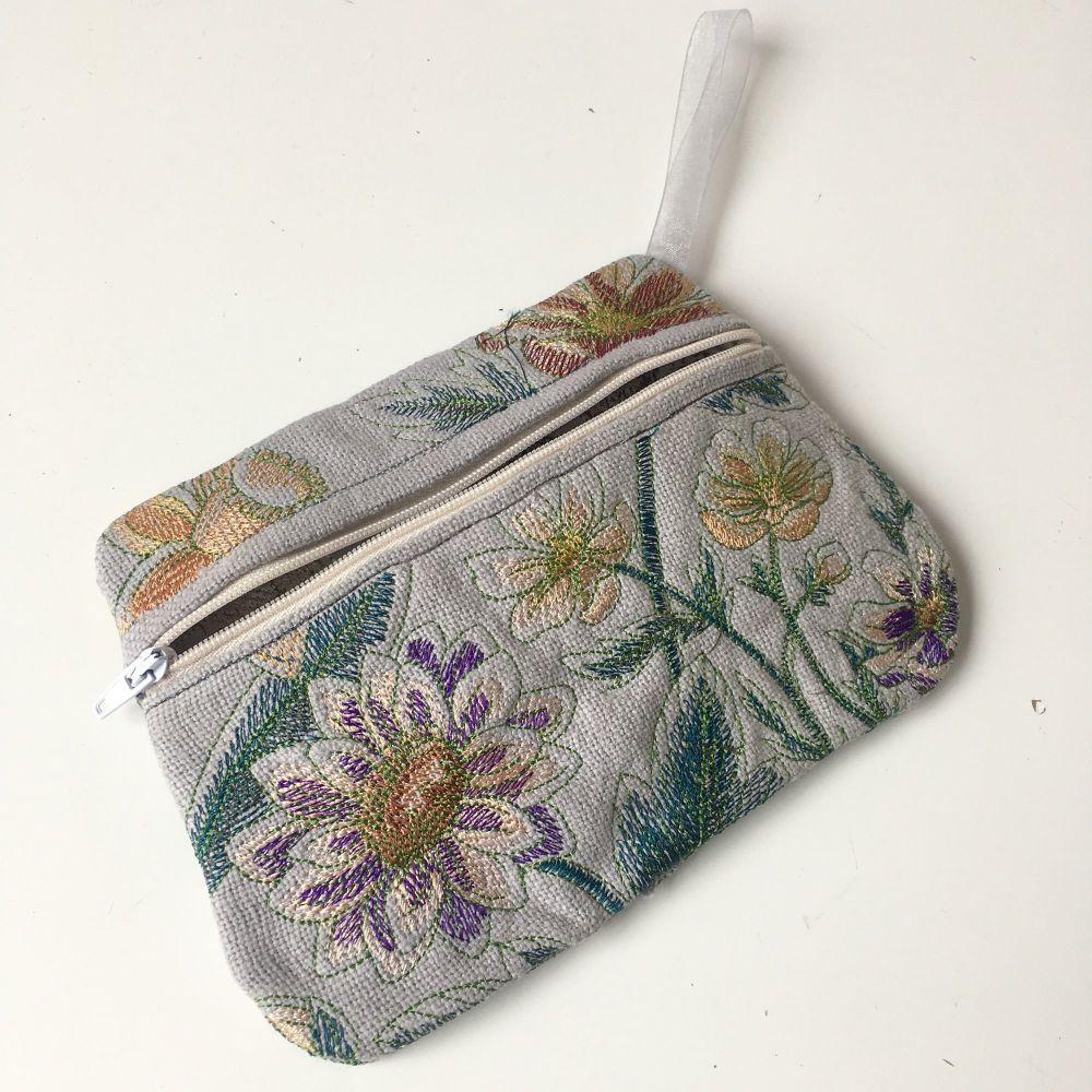 Floral embroidered zip bag