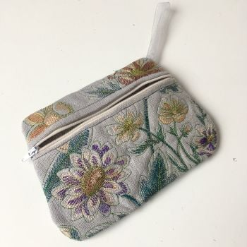 Floral embroidered zip bag