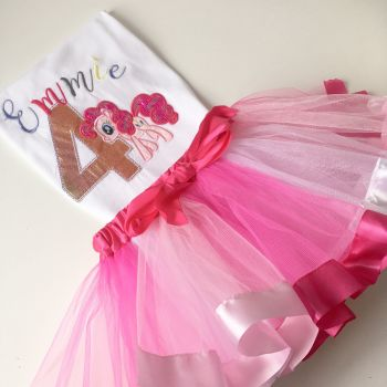 Personalised Pinkie pie pink T shirt and tutu set by Jellibabiees.co.uk