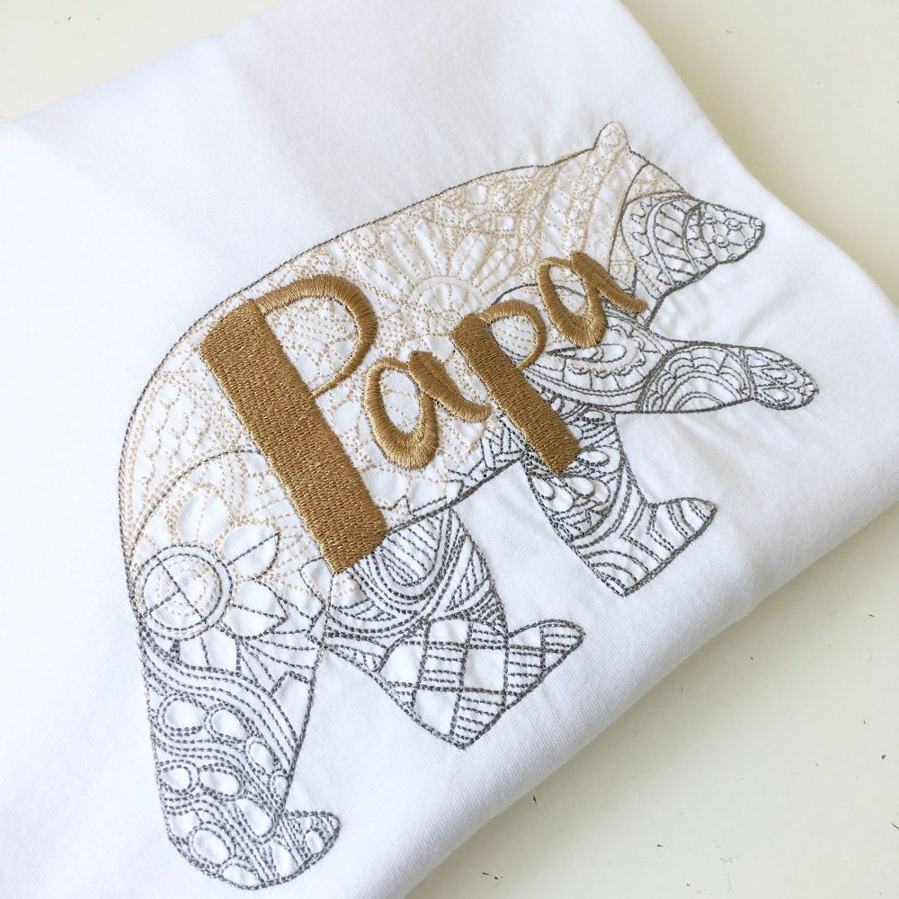 Embroidered Papa fathers day T shirt