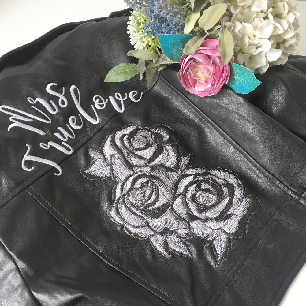 Embroidered faux leather wedding jacket