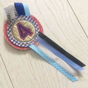 Handmade Number 4 birthday rosette badge