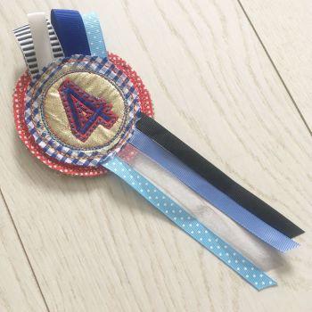 Handmade Number 4 birthday rosette badge