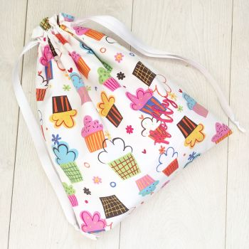 Cupcake fabric fully lined reversable toy laundry book bag