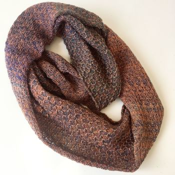autumnal shimmer metalic thread woolen knitted infinity scarf by Sewincarna