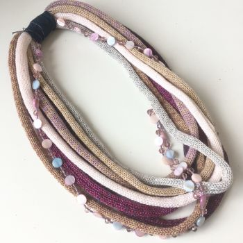Plum and pinks knitted necklace scarf by Sewincarnation on etsy