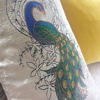 Embroidered Peacock cushion by Jellibabies 2