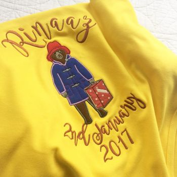 Personalised Paddington bear baby blanket by Jellibabies