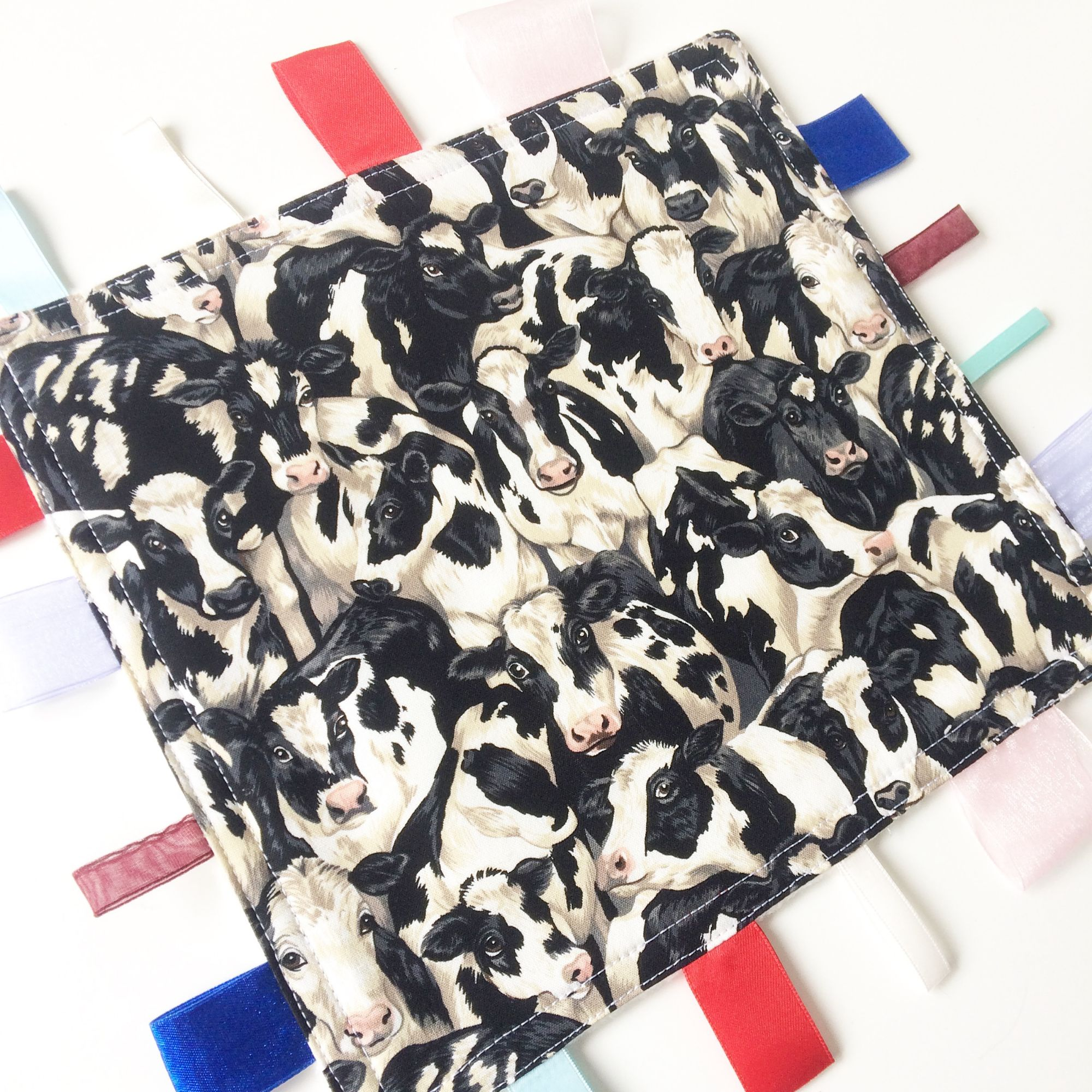 Moo cow print baby taggy blanket
