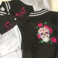 Custom-made embroidered steam punk style varsity jacket at Jellibabies Jell