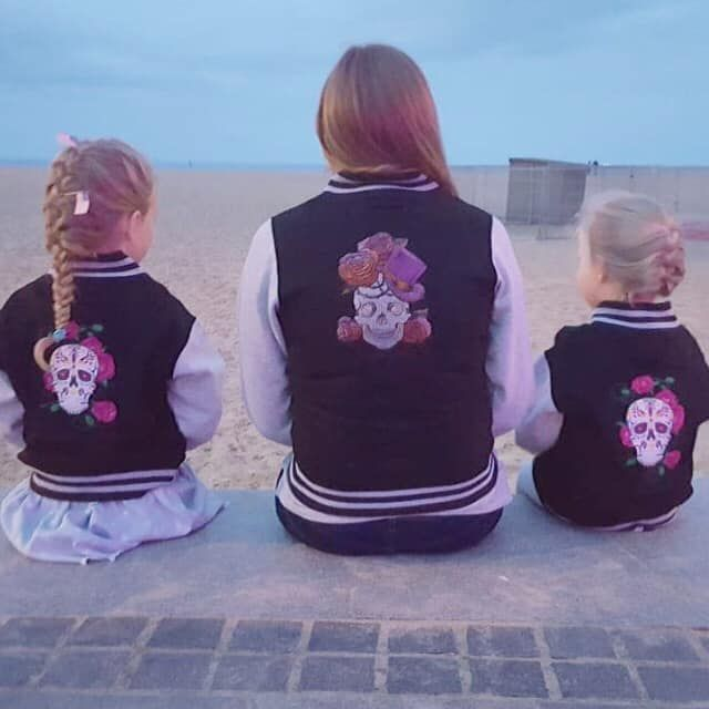 Custom-made embroidered steam punk style sugar skull varsity jacket