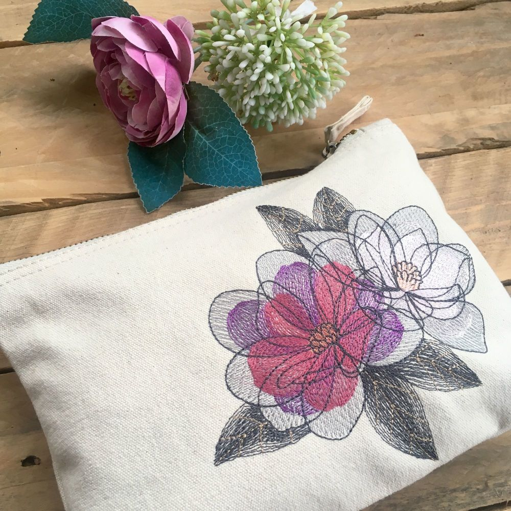 Embroidered magnolia flower zip bag document pouch