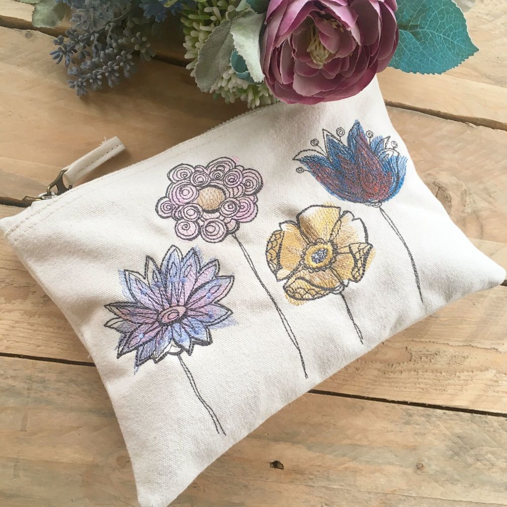 Embroidered woodland flowers zip bag document pouch