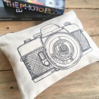 Embroidered camera zip bag document pouch