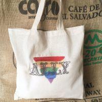 Ally rainbow pride eco reusable tote shopping bag