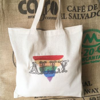 Ally rainbow pride eco reusable tote shopping bag