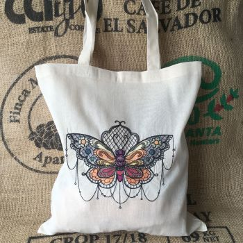 Moth design eco reusable tote shopping bag