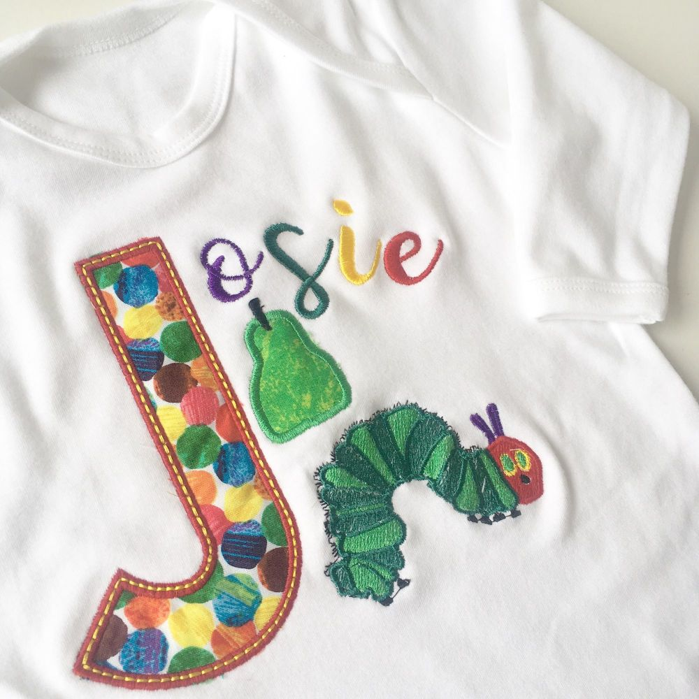 The very hungry caterpillar personalised babygrow