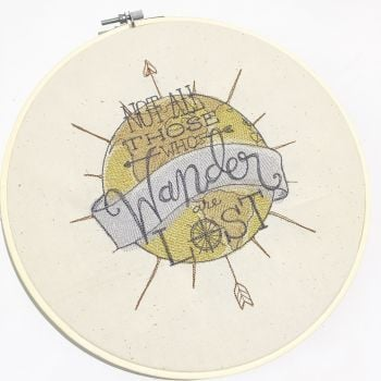Not all who wander are lost embroidered art by Jellibabies co uk