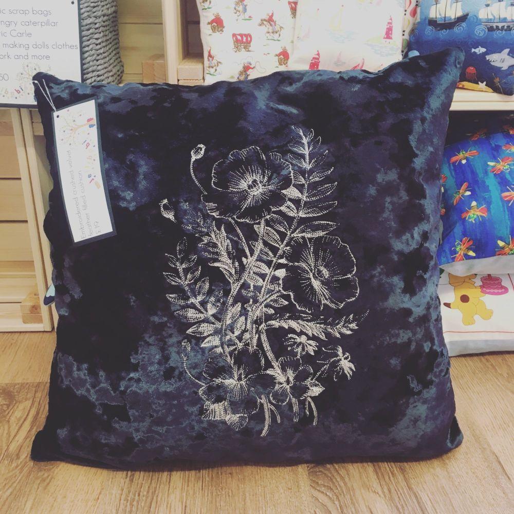 Blue crushed velvet wild flower embroidered cushion