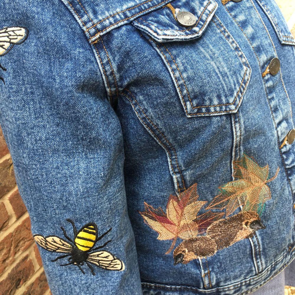 Embroidered woodland denim jacket