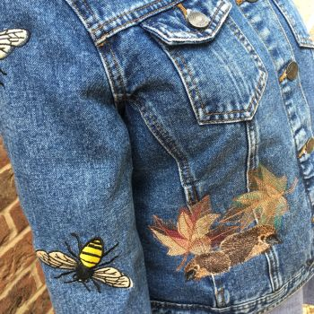 Embroidered woodland denim jacket