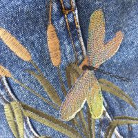 Upcycled Embroidered woodland denim jacket by Sewincarnation at Jellibabies