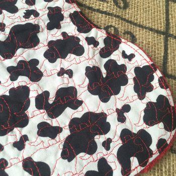 Dinosaur embroidered cow print Baby burp cloth shoulder cloth
