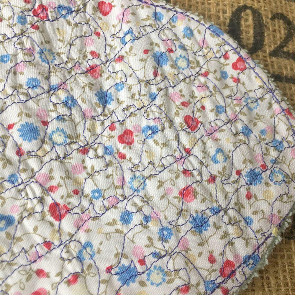 Vintage rose embroidered Baby burp cloth shoulder cloth