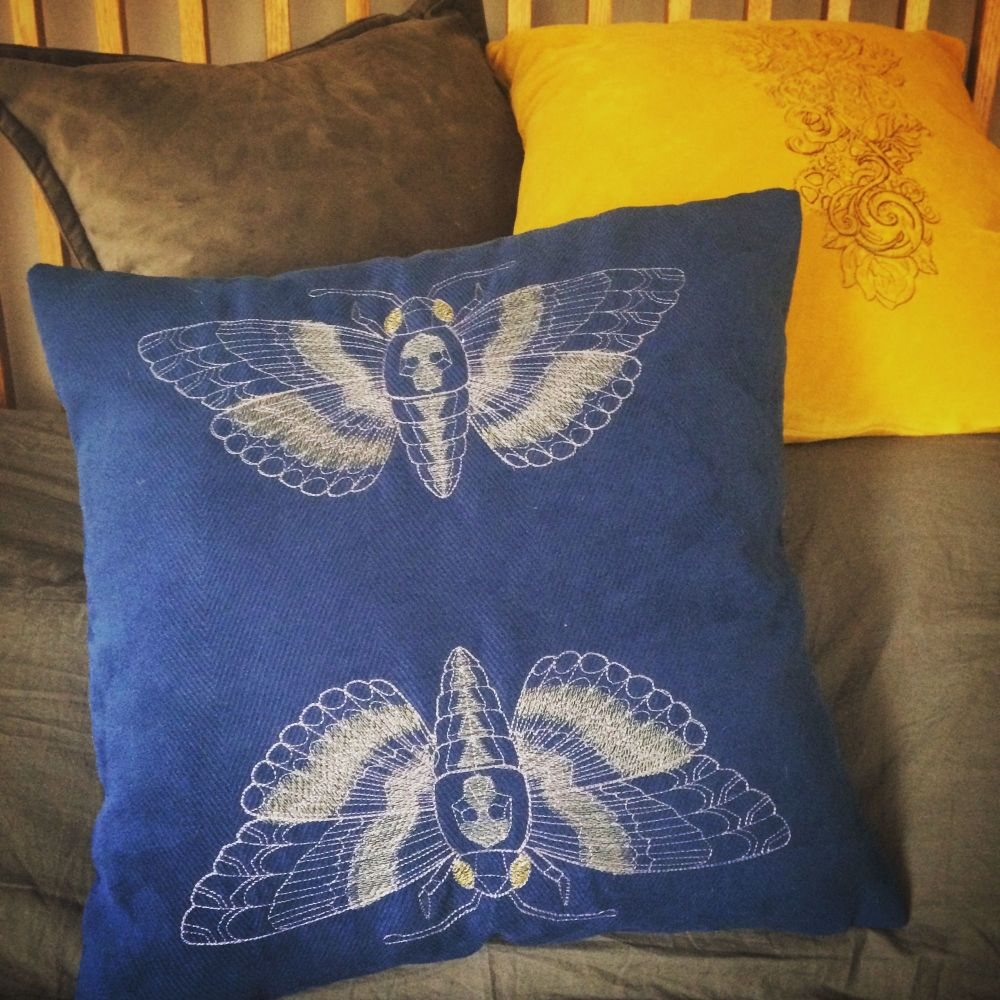 Deaths head hawk moth embroidered cushion