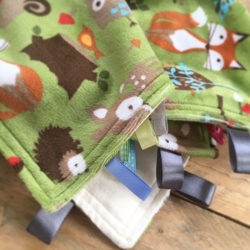 Dapper fox green giant baby taggy comfort blanket