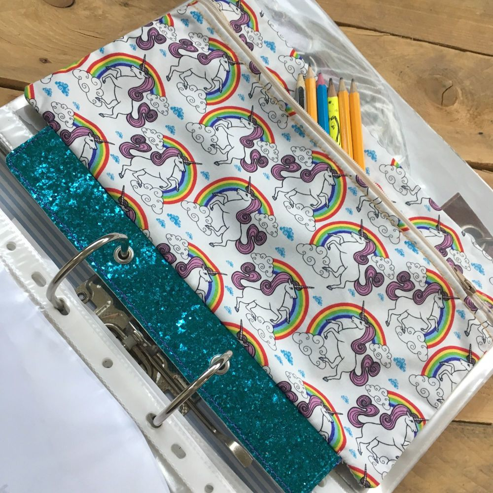 Unicorn and glitter  ring binder pencil case