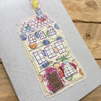 New home raw edge applique greetings card