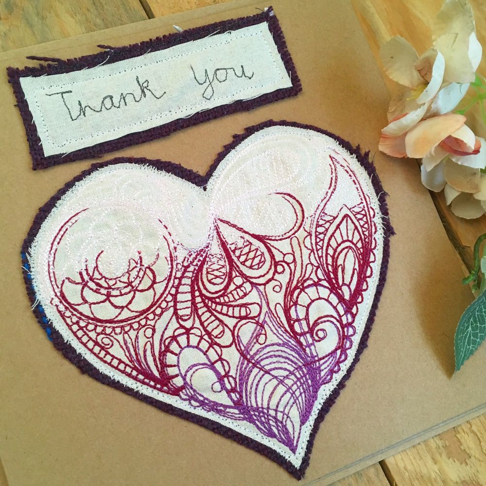 Custom made embroidered Thank You greetings card