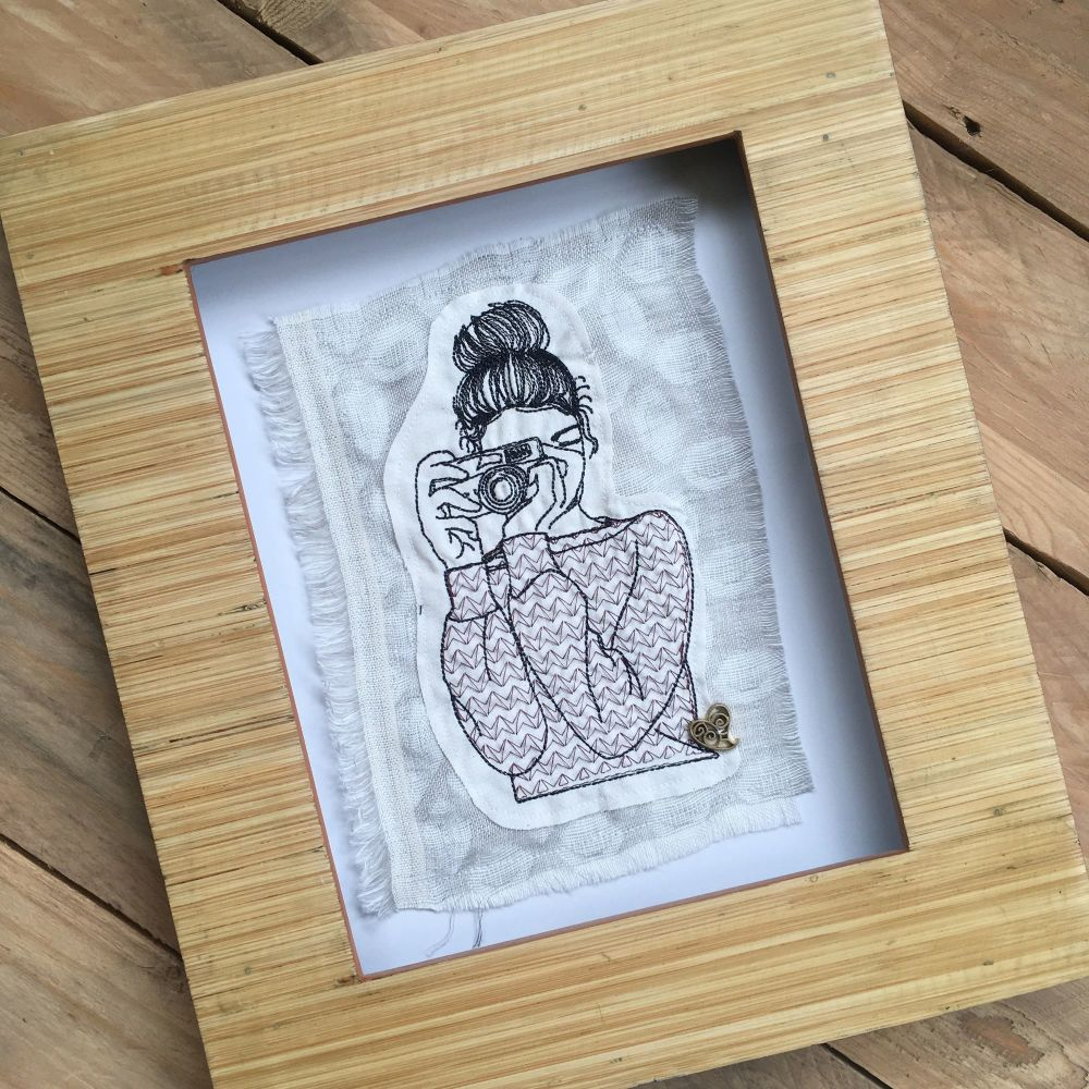 Camera girl ready to frame embroidered  wall art