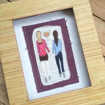 Best Friends  ready to frame embroidered  wall art